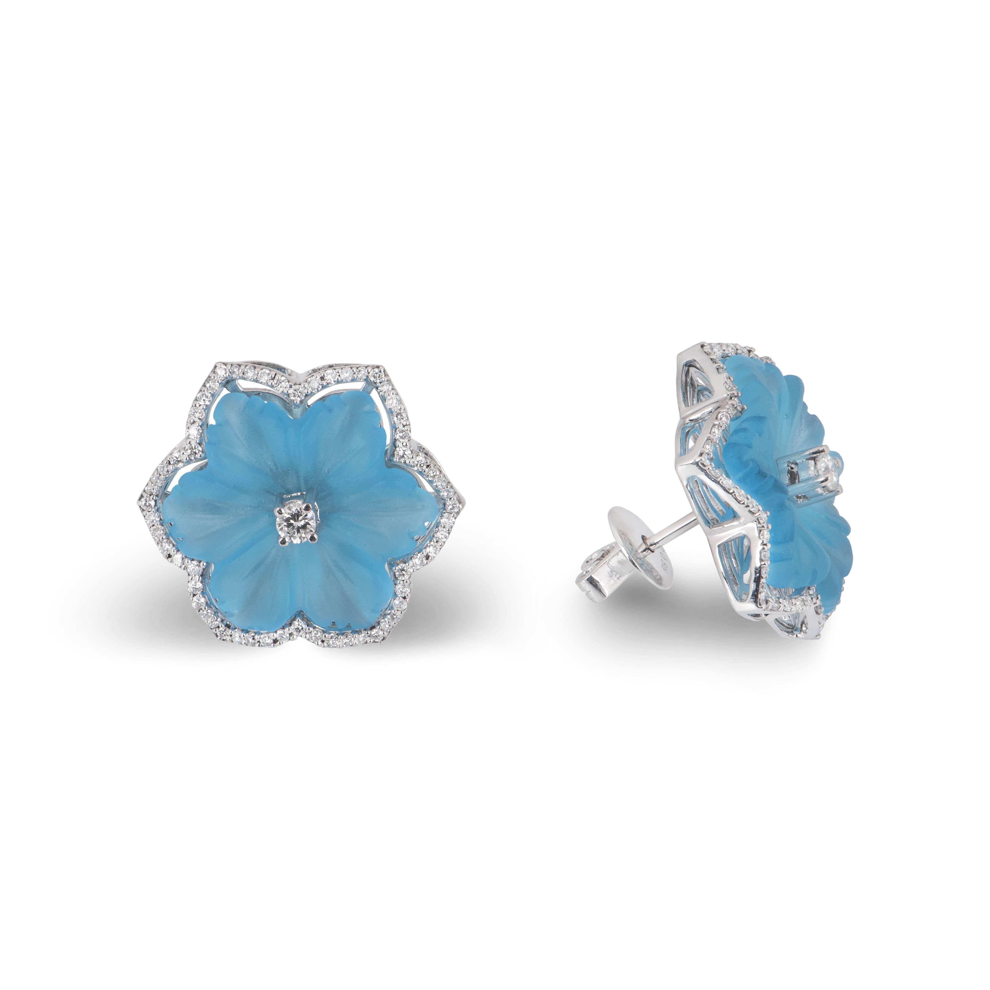 White Gold Blue Onyx & Diamond Flower Earrings